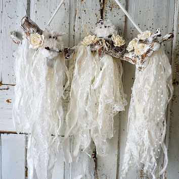 White owls nesting Wall hanging mixed media French Nordic art owls shabby cottage tattered lace adorned branches decor anita spero design