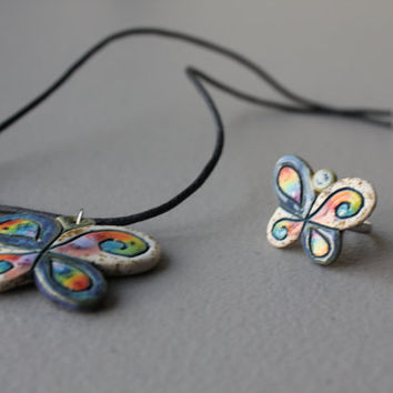 Unique ceramic jewelry set of necklace and ring