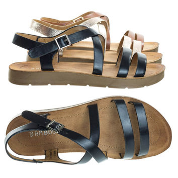 Marmie 03 Black By Bamboo, Instep Rubber Outsole Flat Sandal, Women Strappy Fisherman Open Toe Shoe