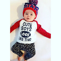 New 2016 fashion autumn baby boy clothes cotton baby clothing sets long sleeve t-shirt+pants cute boys look like this 2pcs sets