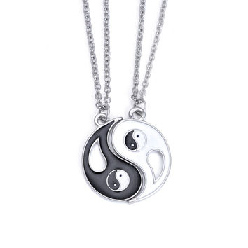 2pcs Matching Friendship Best Friends Ying Yang Stainless Steel Pendant Necklaces Set Valentine's Gift Couple Puzzle Necklace