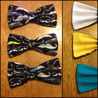 Black mustache hairbow with blue, yellow or white accent