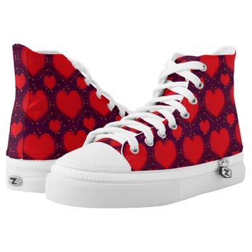 Hearts Motif Patterned Print High Top Shoes Printed Shoes