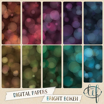 Bokeh Digital Paper Pack turquoise, teal, pink, purple, green, gold. Perfect for desktop and blog backgrounds, Facebook or twitter headers
