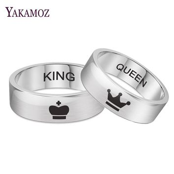 YAKAMOZ Popular KING QUEEN Couple Crown Rings Hot Sale Titanium Steel Ring Personality