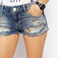 ASOS Low Rise Denim Shorts in Powder Wash with Rips