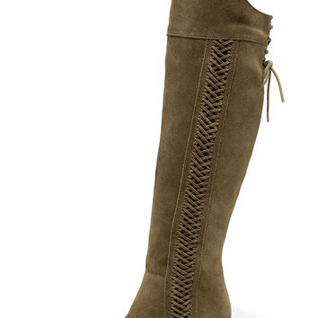 Sbicca Gusto Khaki Suede Leather Over the Knee Boots