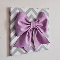 "BLACK FRIDAY Etsy SALE Baby Nursery Wall Decor -Large Lilac Bow on Gray and White Chevron 12 x12"" Canvas Wall Art  Zig Zag"
