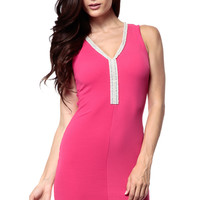 Pearls and Diamonds Fuchsia Body Con Dress