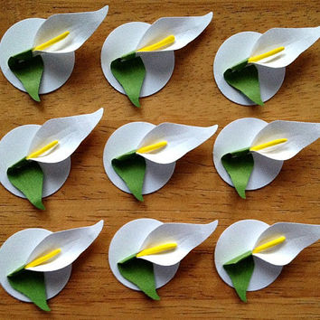 Set of 9 Handmade White Paper Calla Lily Embellishments for Wedding Favors, Gift Tags, Cupcake Lid Toppers, Name cards, Table cards