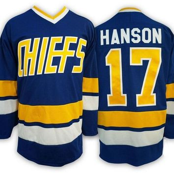 Hanson Brothers Jersey Slap Shot Chiefs Charlestown Steven Hanson Hockey Jersey #17 Retro Hockey Jerseys USA Size