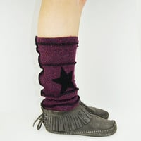 Grunge Rockstar Leg Warmers in Burgundy Wine - Upcycled Wool Sweaters