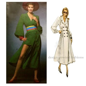 1990s VOGUE 1127 DRESS PATTERN Double Breasted CoatDress & Mini Shorts Emanuel Ungaro Paris Original UNCuT Rare Womens Sewing Patterns