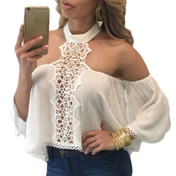 Summer style sexy crop top long sleeve high neck halter women tank top off shoulder party crop tops Girls casual white blouse