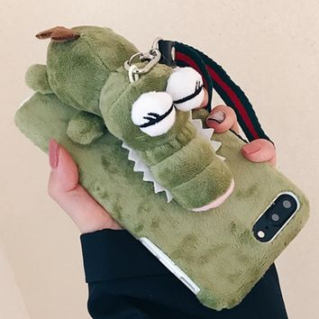 Haweel For iPhone 8 plus case Cute Plush Papa Crocodile Protective Cover with Lanyard Back Housing Case For iPhone 7 Plus funda