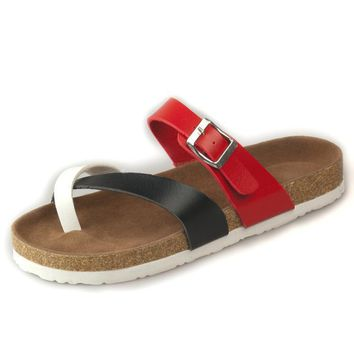 Summer Fashion Leather Cork Flats Beach Lovers Slippers Casual Sandals