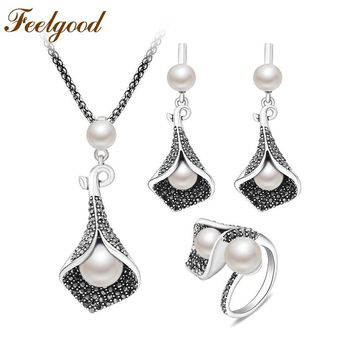 Feelgood New Jewellery Set Individuality Vintage Silver Color Calla Lily Flower And Imitation Pearl Jewelry Sets For Women