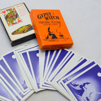 Vintage Gypsy Witch Fortune Telling Playing Cards, United States Playing Card Company, Complete Deck in Orange and Black Box