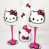 Hello kitty wine glass set - 1 decanter - 2 wine glasses - hand painted - hot pink - polka dots - 20 oz