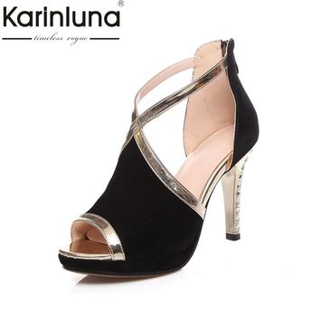KARINLUNA 2018 Fashion cross-strap High Heel Platform Summer Sandals Woman Open Toe Heel Shoes Office Date Ladies Footwear