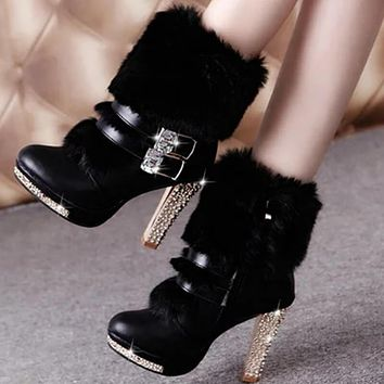 Platform Faux Fur Rhinestone High Heel Winter Boots