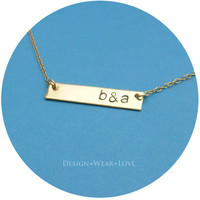 Personalized Hand Stamped Necklace Gold Brass Single Long Rectangle Pendant Bar - Initial Monogram Handstamped Name Charm