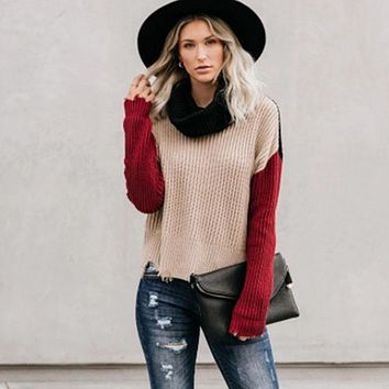 Distressed Turtleneck Colorblock Ribbed Sweater