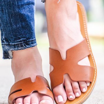 Faux Leather Summer Slip On Sandals | Cognac