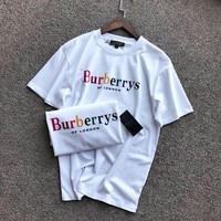 """Burberry"" Unisex Casual Fashion Multicolor Rainbow Letter Couple Short Sleeve T-shirt Top Tee"