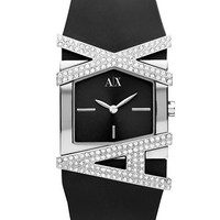 Armani Exchange Ladies Rectangle Black and Silver Watch with Swarovski Stones