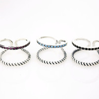 925 Sterling Silver 2 lines Nano Color Cubic rings, Knuckle Stacking R