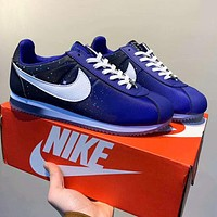 Nike Cortez Nylon Starry Sky Fashion Women Men Casual Sport Running Shoes Sneakers Blue