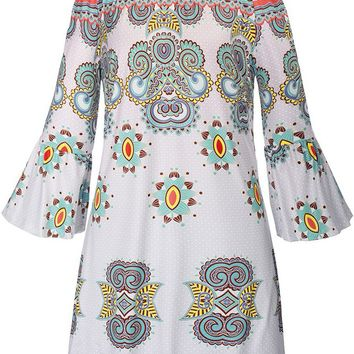 Streetstyle  Casual Off Shoulder Tribal Printed Bell Sleeve Shift Dress