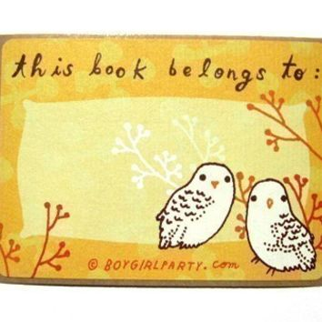 "Owl ""This Book Belongs To"" label sticker ex libris set - owl book labels library bookplates"