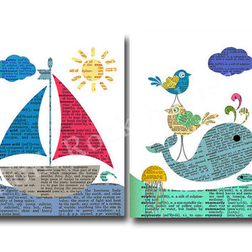 nautical nursery art boat whale nursery decor children room decor kids room wall art for baby boy room decor play room decor nursery artwork