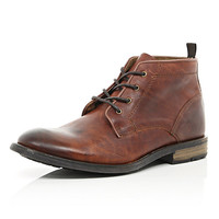 River Island MensBrown leather lace up chukka boots