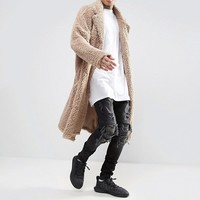 ASOS Extreme Oversized Borg Duster Coat In Beige at asos.com
