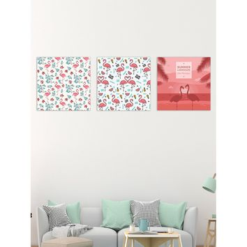 Flamingo Pattern Cloth Wall Art 3pcs