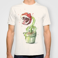 Piranha Plant Painting T-shirt by Olechka
