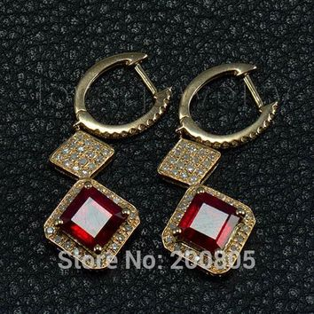 14KT Yellow Gold Diamond Natural Blood Red Ruby 7mm Earrings