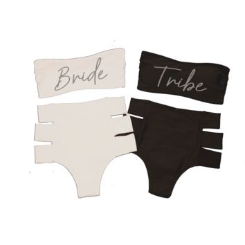 Tribe Bikini Set (bridal font) - Hollywood High Waist & Banzai Bandeau