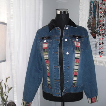 vintage DENIM jacket with velour rhinestones embellishments ... Indie boho hipster Rockabilly SMALL