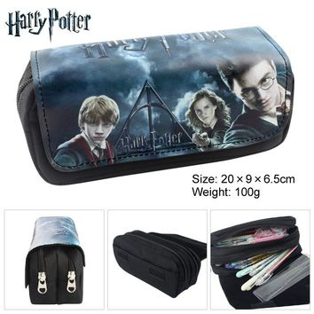 Harry Potter Anime Fabric Double Zipper Wallet Students Stationery Case Large Capaeity Pencil Bag Kids Gift