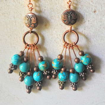 Copper Butterfly Earring with Turquoise Beads