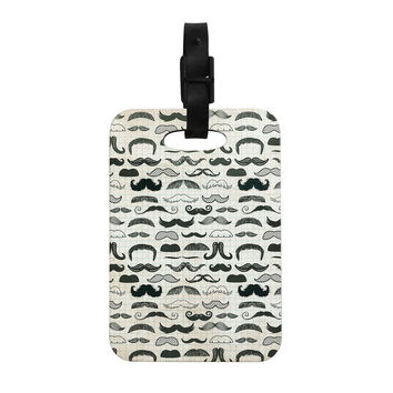 "Heidi Jennings ""Stached"" Gray Black Decorative Luggage Tag"