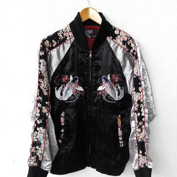 CRAZY SALE 25% Vintage SUKAJAN 80's Japanese Fish Koi Sakura Flower Embroidery Souvenirs Satin Varsity Jacket Xl