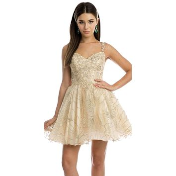 Champagne/Gold Homecoming Short Dress with Applique and Glitter
