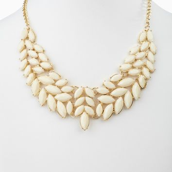 Ivory Enamel Leaf Bib Statement Neckalce/Earring Set