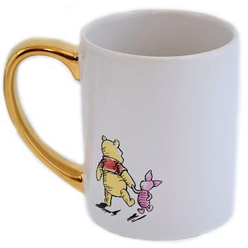 Disney Parks Winnie the Pooh and Piglet Golden Ceramic Coffee Mug New