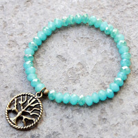 Inspiration and Life, turquoise blue crystal mala bracelet set with a Tree of Life charm